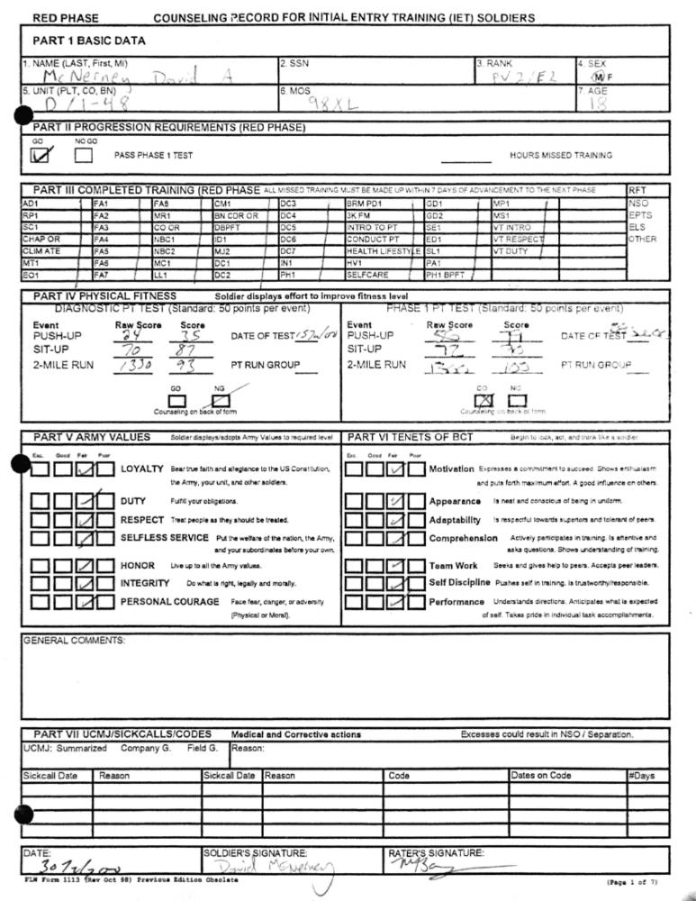 73000 basic training PT score
