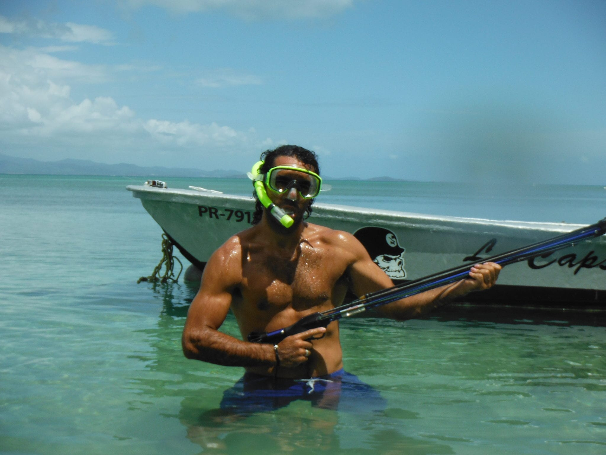 spearfishing pose